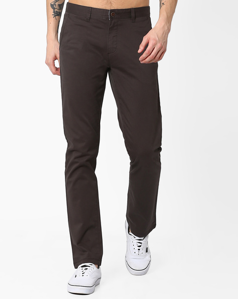 Mid-Rise Slim Fit Stretch Chinos By AJIO ( Grey )
