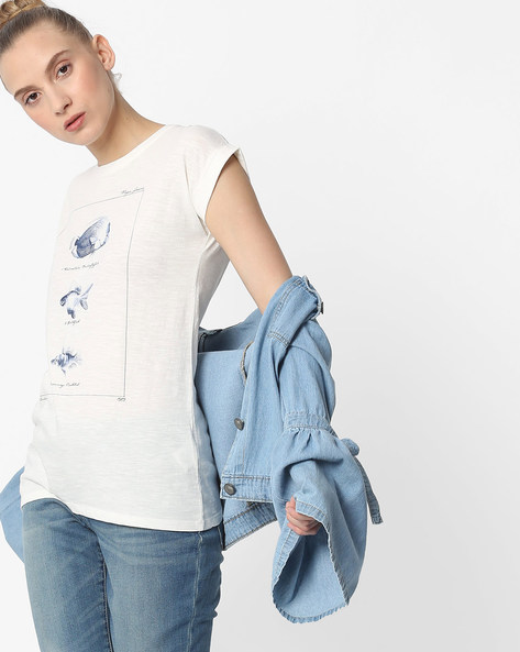 Printed T-shirt With Extended Sleeves By Pepe Jeans ( White )