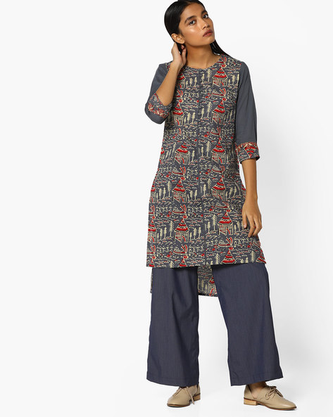 Printed High-Low Straight Kurta By AJIO ( Charcoal )