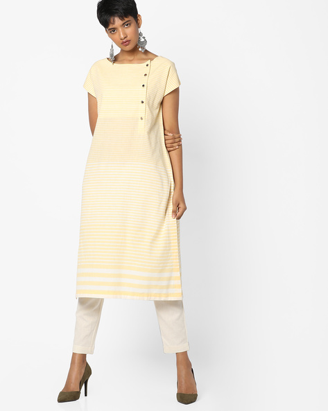 Striped Straight Kurta By PE IW Casual ( Yellow )