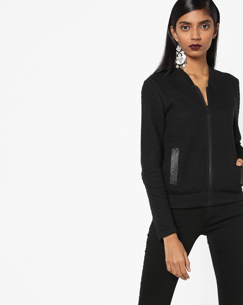 Quilted Sweatshirt With Front Zipper By Lee ( Black )