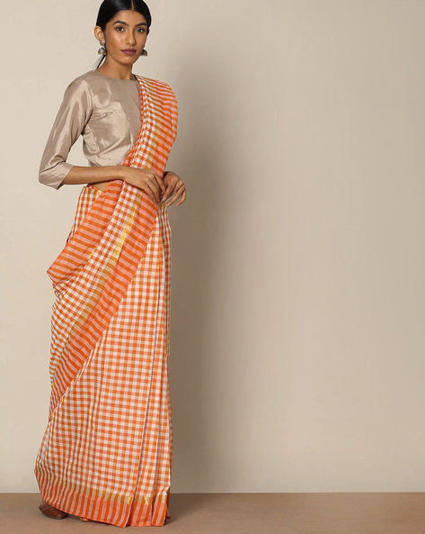 South Cotton Checked Saree With Zari Border By Indie Picks ( Brown )