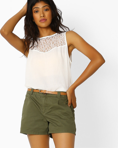 Sleeveless Top With Lace Yoke By Vero Moda ( White )