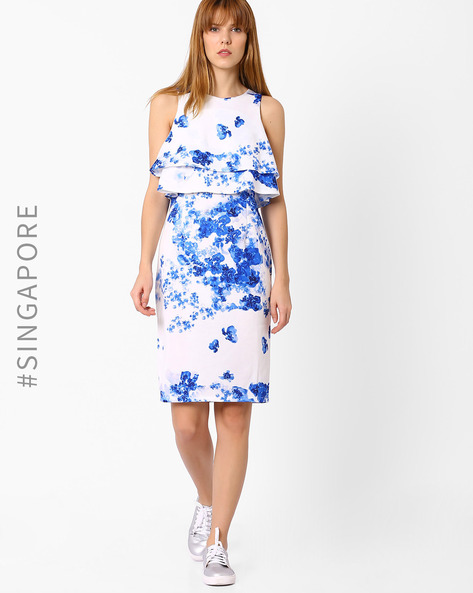 Floral Print Popover Dress By MDS ( White )