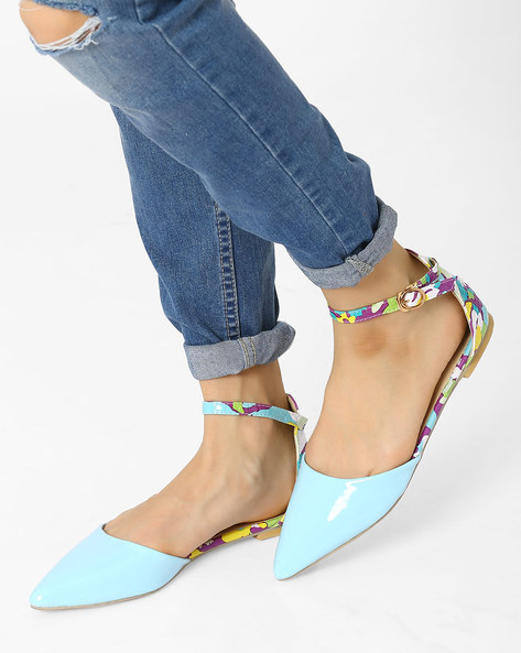Pointy-Toe Flats With Ankle Strap By AJIO ( Lightblue )