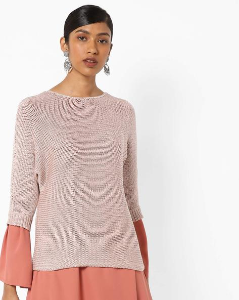 Seamless Pullover With Extended Sleeve By Only ( Maroon )