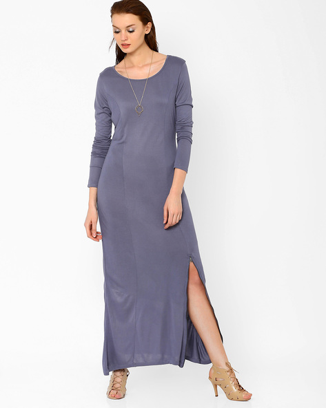 Maxi Dress With Zipper By AJIO ( Grey )