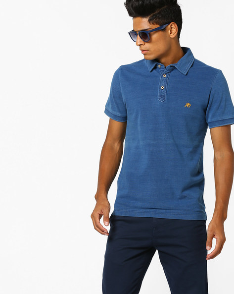Textured Polo T-shirt With Vented Hemline By Aeropostale ( Blue )