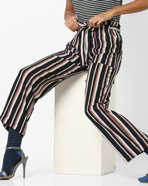 Striped Mid-Rise Pants With Tie-up By Only ( Brown )