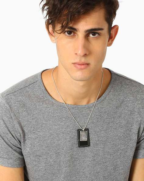 Triangular Tag Neckpiece By ALPHA MAN ( Blacksilver )