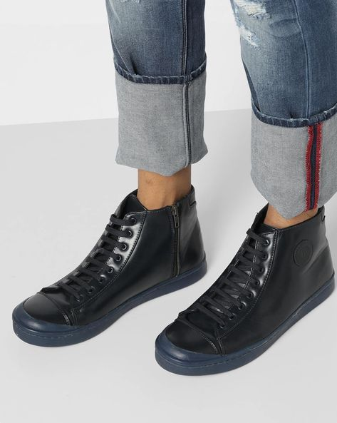 Mid-Top Lace-Up Shoes By Blue Saint ( Navy )
