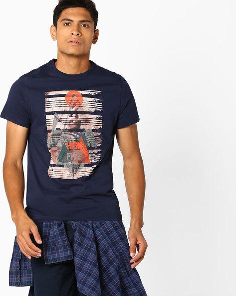 Graphic Print Slim Fit T-shirt By AJIO ( Navy )
