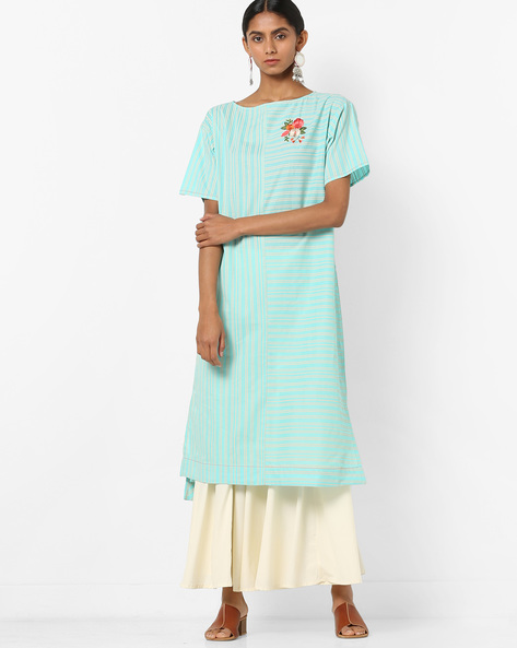 Pinstriped High-Low Kurta With Floral Embroidery By AJIO ( Blue )