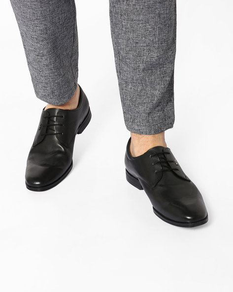 Genuine Leather Lace-Up Formal Shoes By Lee Cooper ( Black )