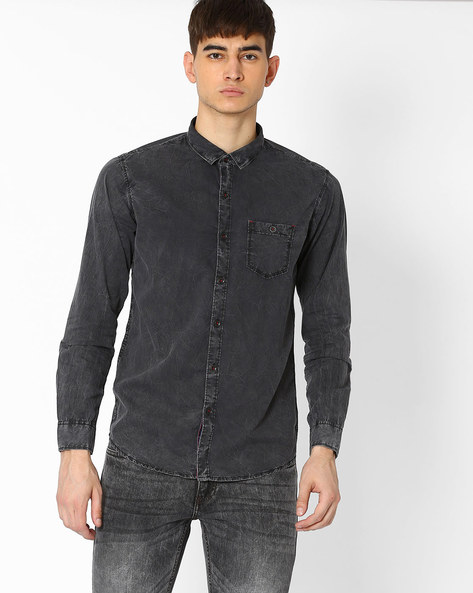 Cotton Shirt With Patch Pocket By SIN ( Black )