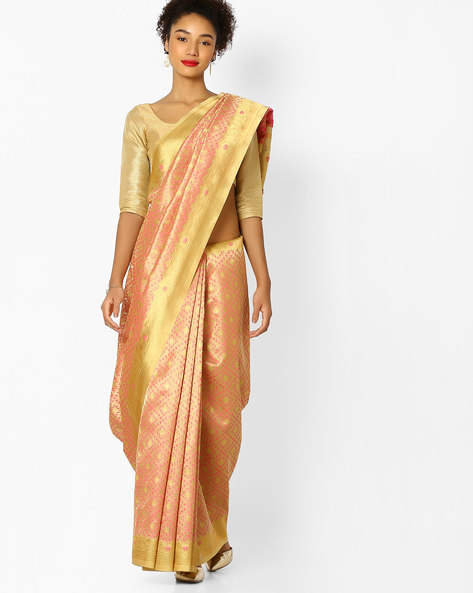 Banarasi Tissue Saree With Contrast Border By Parmita ( Gold )