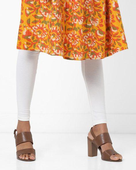 High-Rise Knitted Churidar Leggings By AJIO ( Offwhite )