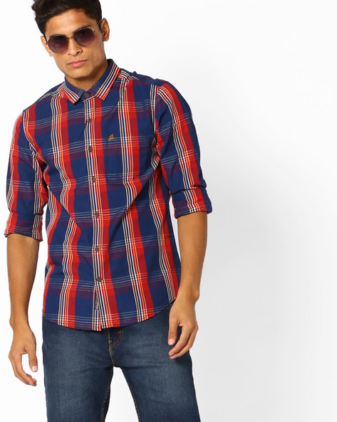 Checked Slim Fit Shirt By The Indian Garage Co ( Orange )