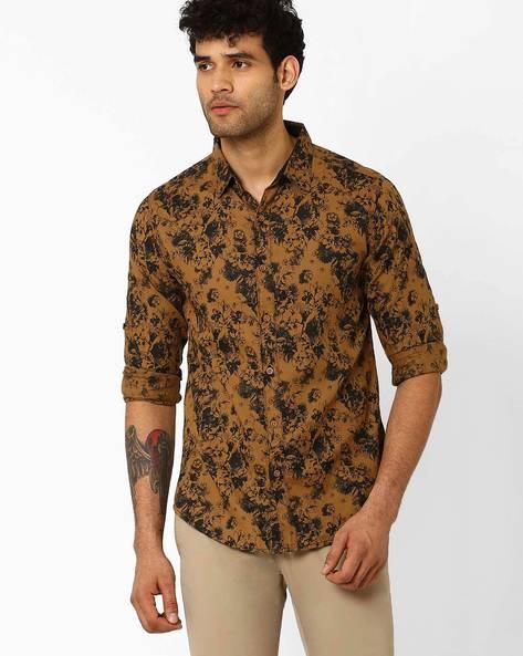 Floral Print Slim Fit Shirt By SPYKAR ( Brown )