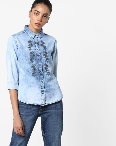 Embroidered Shirt With Washed Effect By Pepe Jeans ( Blue )
