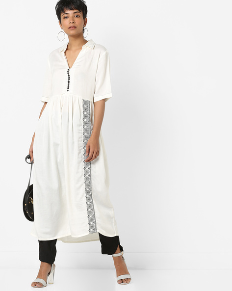 Pleated A-Line Kurta With Embroidery By AJIO ( Offwhite )