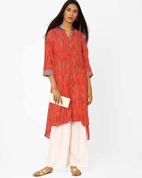Printed Kurta With High-Low Hem By Biba ( Red )