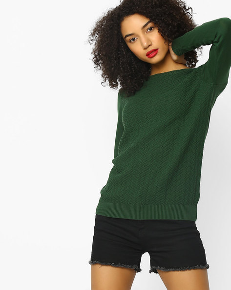Flat Knit Top With Ribbed Hems By FIG ( Green )