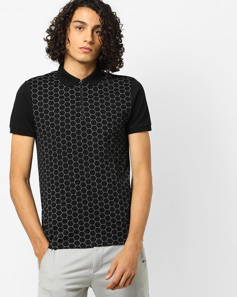 Printed Polo T-shirt With Zip Placket By AJIO ( Black )