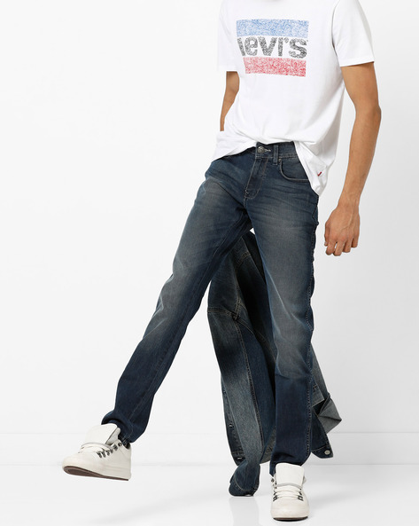 Mid-Wash Skinny Fit Jeans With Whiskers By WRANGLER ( Blue )