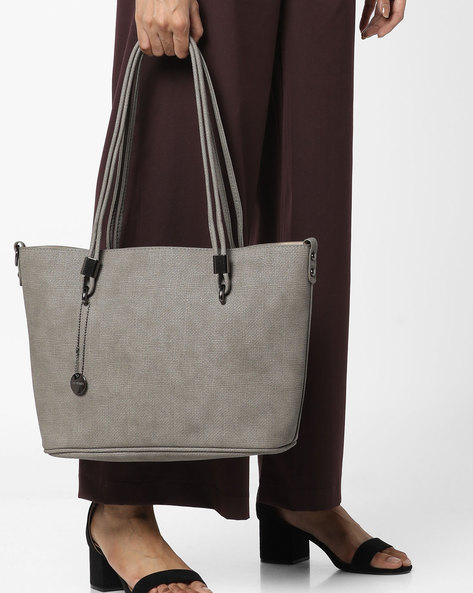 Textured Handbag With Detachable Sling Strap By Lino Perros ( Grey )