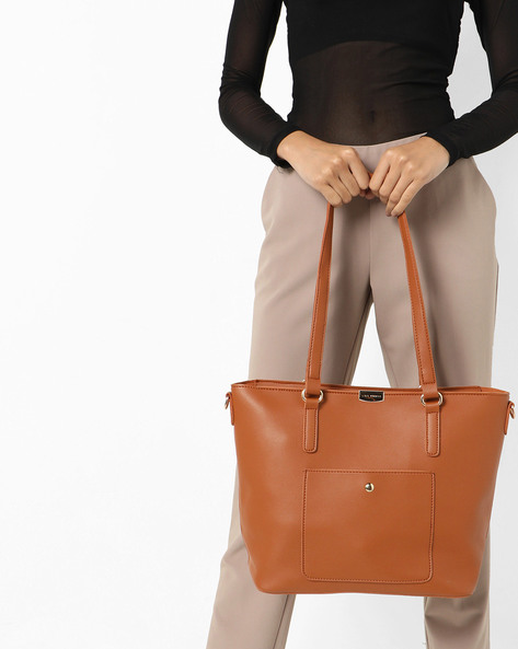 Tote Bag With Additional Pouch By Lino Perros ( Tan )