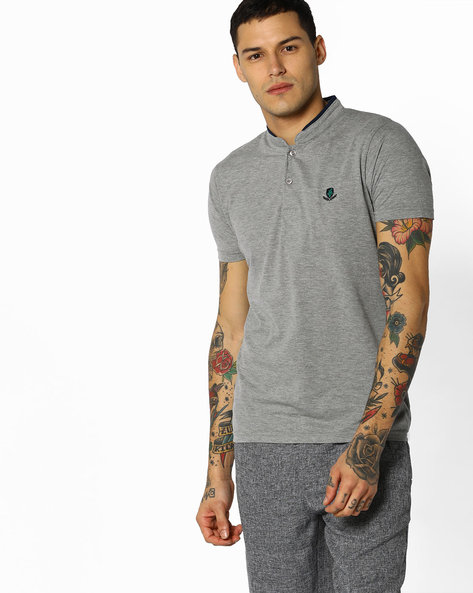 Cotton T-shirt With Mandarin Collar By The Indian Garage Co ( Lightgrey )