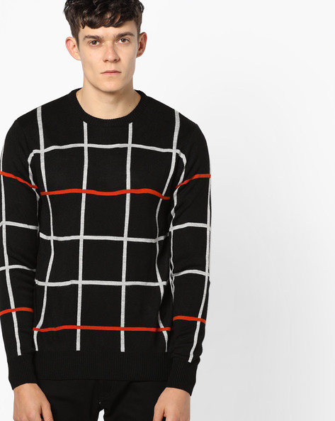 Checked Crew-Neck Pullover By NETWORK ( Black )