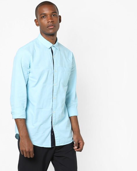 Cotton Shirt With Patch Pocket By Black Coffee ( Lightblue )