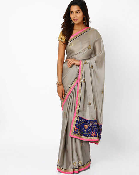 Embroidered Satin Chiffon Saree By Florence ( Silver )