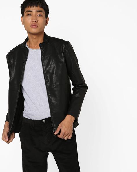 Slim Fit Biker Jacket By The Indian Garage Co ( Black ) - 460144897001
