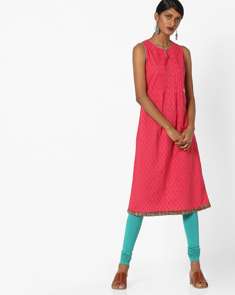 Printed Kurta With Contrast Taping By AJIO ( Coral )