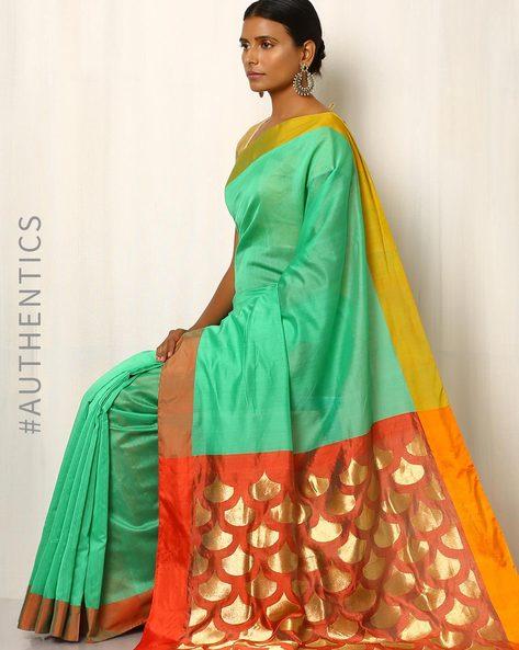 Handwoven Pure Silk Cotton Chanderi Saree By Indie Picks ( Green )