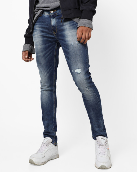 Mid-Rise Slim Fit Jeans With Whiskers By SPYKAR ( Midnightblue )