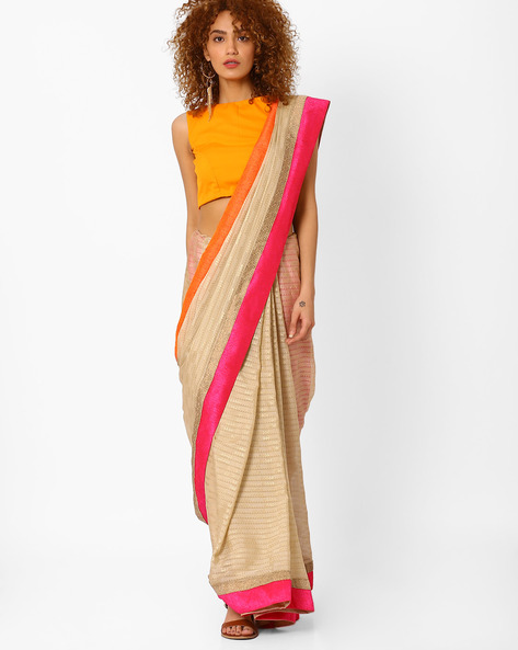 Foil Print Saree With Contrast Border By Arissa ( Beige )