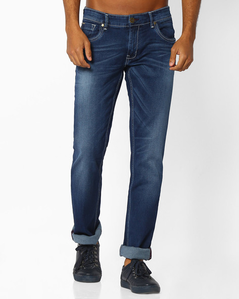 Lightly Washed Slim Stretch Jeans By BASICS ( Navy )