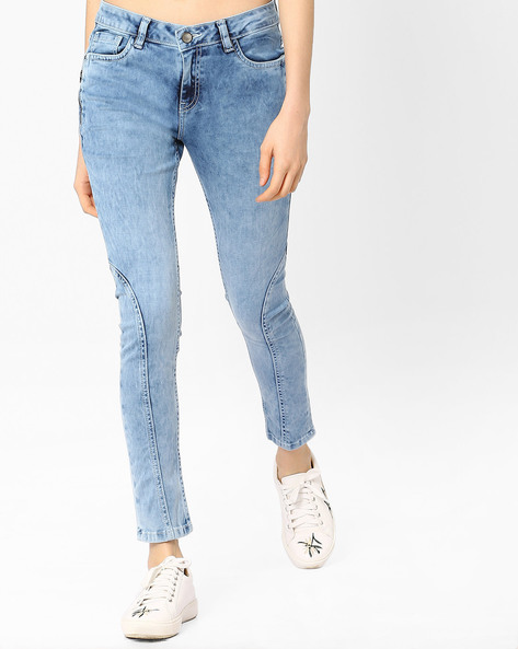 Panelled Skinny Denims By AJIO ( Lightblue )
