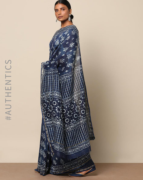 Handblock Indigo Print Chanderi Saree With Zari By Indie Picks ( Indigo ) - 460146834001