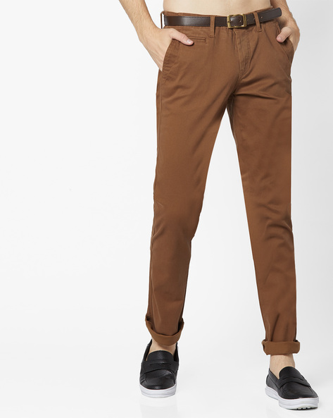 Mid-Rise Flat-Front Chinos By Celio ( Darkbrown )