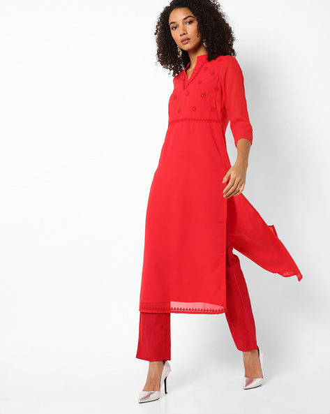 Straight Kurta With Floral Embroidery By AJIO ( Red )