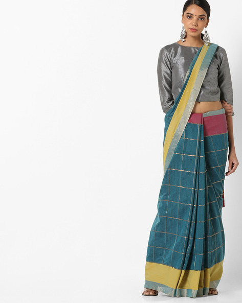 Banarasi Woven Saree With Contrast Border By Parmita ( Blue )