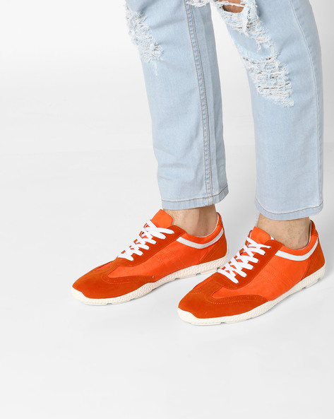 Low-Top Panelled Sneakers By AJIO ( Orange )