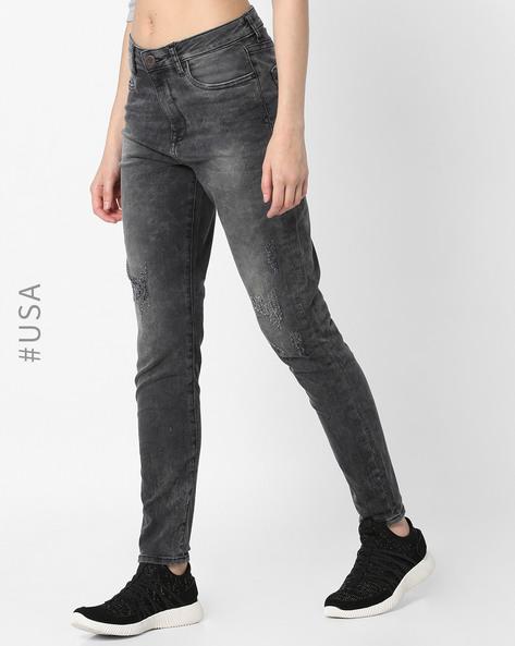 Acid-Washed Skinny Fit Distressed Jeans By Aeropostale ( Black )
