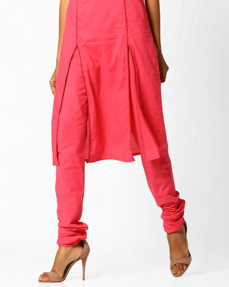 Churidar Pants With Drawstring Fastening By AJIO ( Coral )