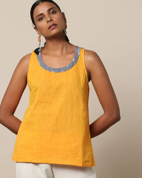 Racerback Cotton Top With Ikat Yoke By Indian Dobby ( Yellow )